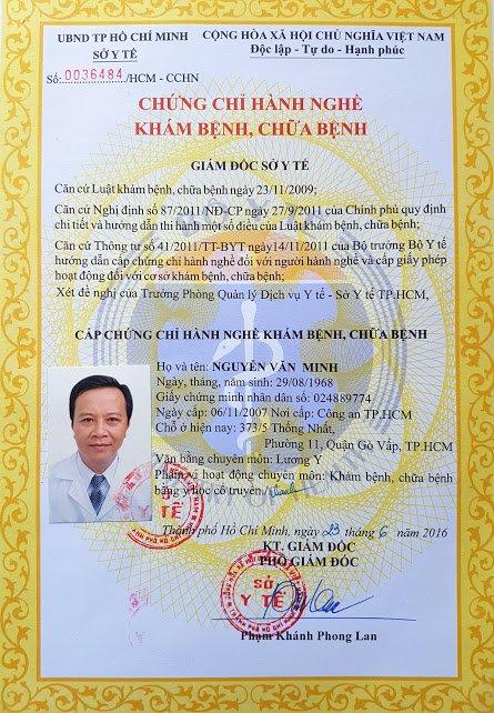 Giấy phép khám chữa bệnh của lương y Nguyễn Văn Minh.