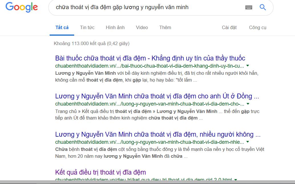 Vào Google gõ chữ: chữa thoát vị đĩa đệm gặp lương y Nguyễn Văn Minh